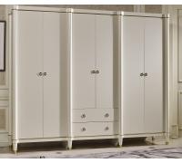 Шкаф Ивон MK-6814-IVG 6-и дверный (цвет патины: золотое шампанское)Слоновая кость